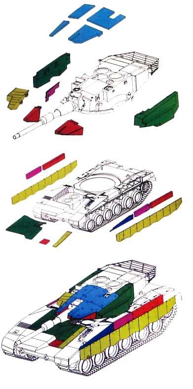 """Новые цельнометаллические опорные катки.  На схеме : Модули бронирования танка  """"Меркава 3 """" Баз с модульной бронёй."""