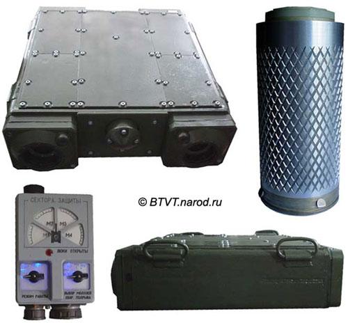 Внешний вид КАЗ «Заслон» - модуль с видом спереди и сбоку, контрольный пульт, и защитный боеприпас с облицовкой заданного дробления.