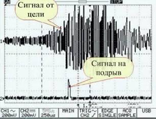 фото диаграмма обнаружения цельнокорпусного боеприпаса (БПС) и бронебойного снаряда танковой пушки БК-18М. Сигнал на подрыв БЧ подается.